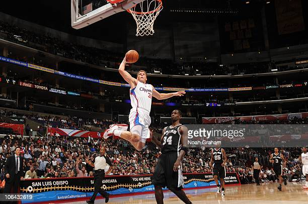 Blake Griffin of the Los Angeles Clippers goes up for a dunk against the San Antonio Spurs at Staples Center on November 1 2010 in Los Angeles...