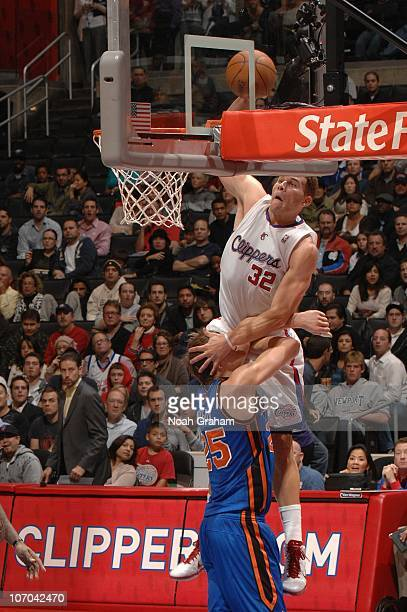 Blake Griffin of the Los Angeles Clippers goes up for a dunk against Timofey Mozgov of the New York Knicks at Staples Center on November 20, 2010 in...