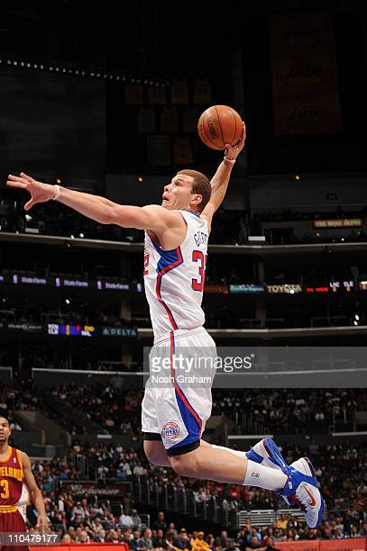 Blake Griffin of the Los Angeles Clippers goes up for a dunk against the Cleveland Cavaliers at Staples Center on March 19 2011 in Los Angeles...