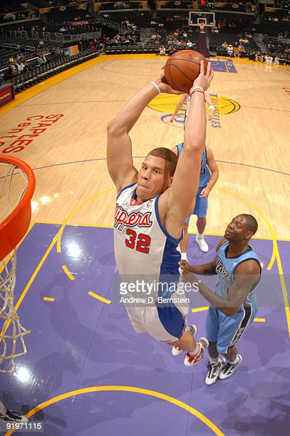 Blake Griffin of the Los Angeles Clippers goes up for a dunk against the Utah Jazz at Staples Center on October 17 2009 in Los Angeles California...
