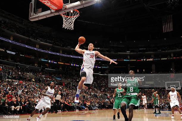 Blake Griffin of the Los Angeles Clippers goes up for a dunk ahead of Jeff Green of the Boston Celtics at Staples Center on February 26, 2011 in Los...