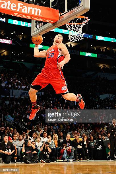 Blake Griffin of the Los Angeles Clippers goes up for a dunk in the first round in the Sprite Slam Dunk Contest apart of NBA AllStar Saturday Night...