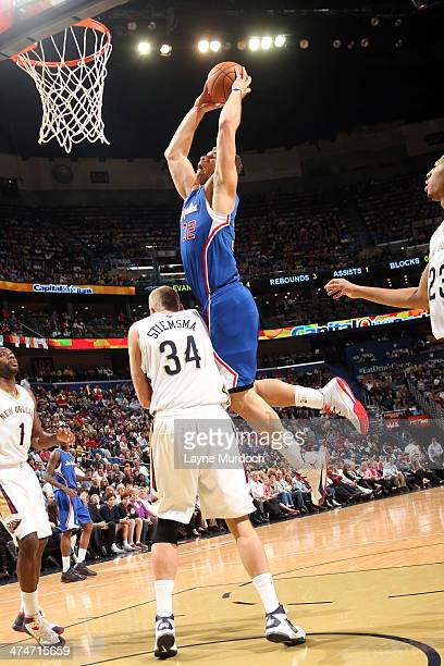 Blake Griffin of the Los Angeles Clippers goes up for the dunk against the New Orleans Pelicans during an NBA game on February 24 2014 at the...