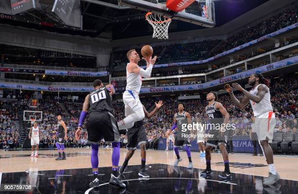 Blake Griffin of the Los Angeles Clippers goes up for the shot against the Sacramento Kings on January 11 2018 at Golden 1 Center in Sacramento...