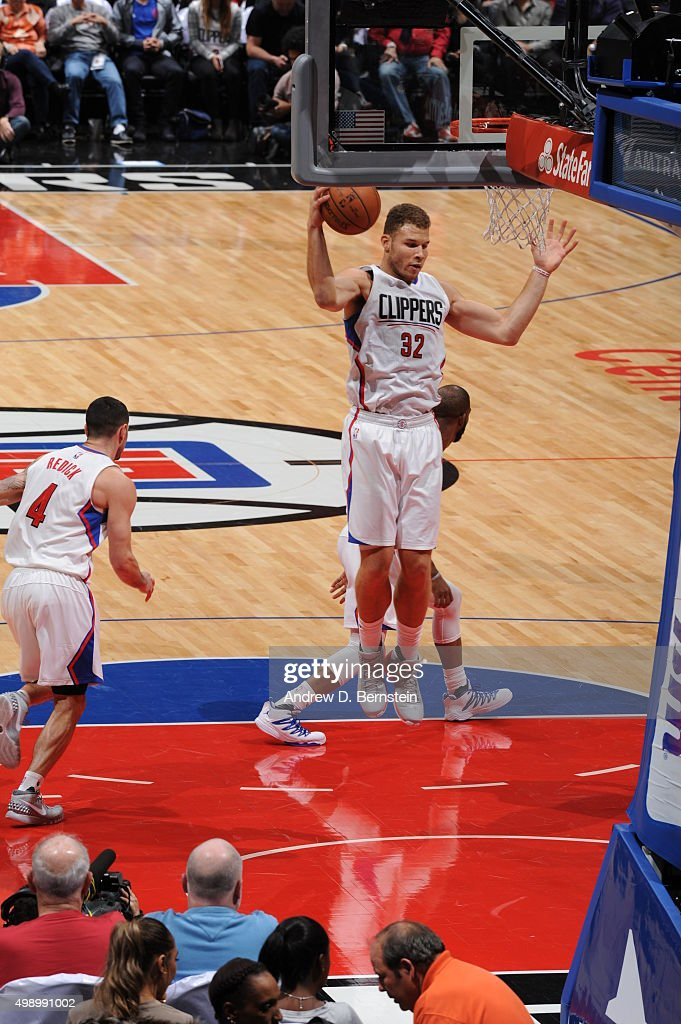 Blake Griffin #32 of the Los Angeles Clippers grabs the rebound against the New Orleans Pelicans on November 27, 2015 at STAPLES Center in Los Angeles, California.