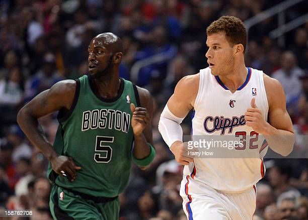 Blake Griffin of the Los Angeles Clippers guards Kevin Garnett of the Boston Celtics during the game at Staples Center on December 27, 2012 in Los...