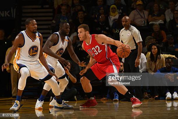 Blake Griffin of the Los Angeles Clippers handles the ball against the Golden State Warriors during a preseason game on October 4 2016 at Oracle...