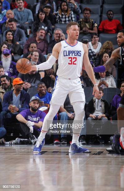 Blake Griffin of the Los Angeles Clippers handles the ball against the Los Angeles Clippers on January 11 2018 at Golden 1 Center in Sacramento...