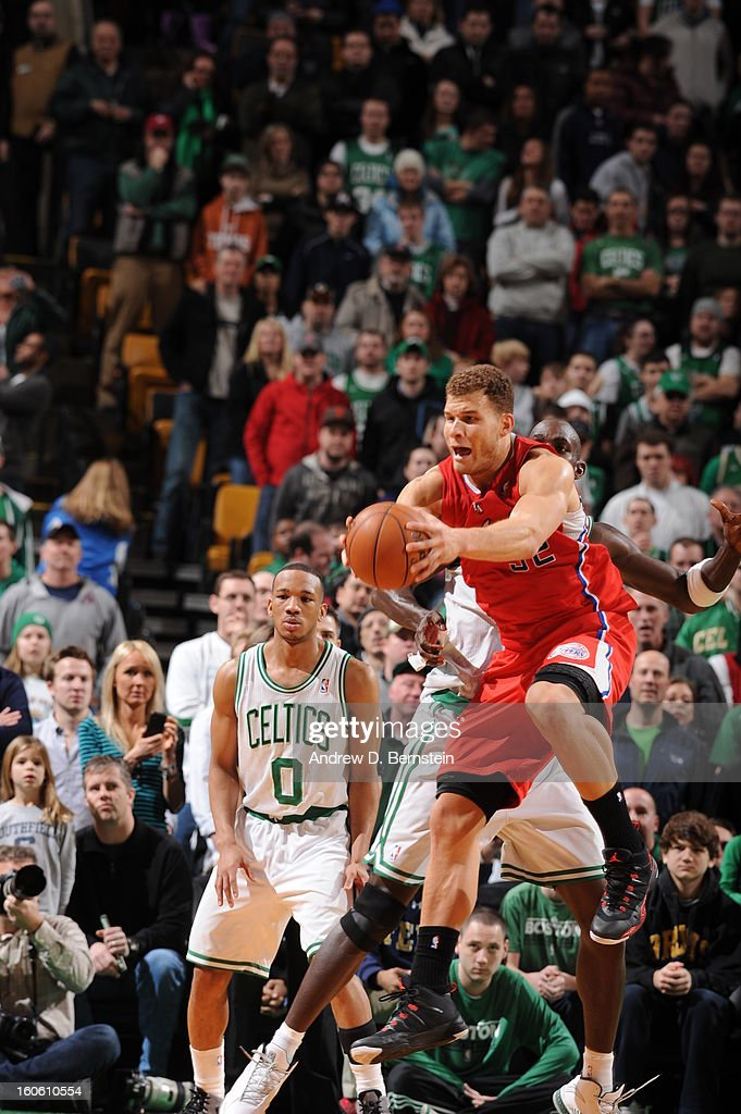 Blake Griffin #32 of the Los Angeles Clippers handles the ball during the game between the Boston Celtics and the Los Angeles Clippers on February 3, 2013 at the TD Garden in Boston, Massachusetts.