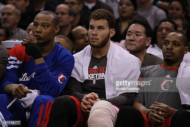 Blake Griffin of the Los Angeles Clippers in Game Two of the Western Conference Semifinals of the 2012 NBA Playoffs at ATT Center on May 17 2012 in...