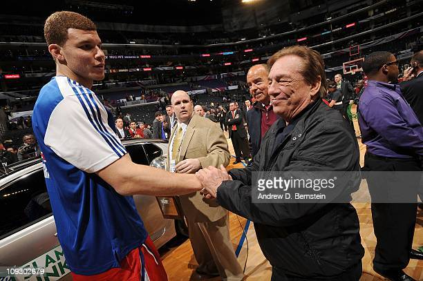Blake Griffin of the Los Angeles Clippers is congratulated by team owner Donald Sterling after winning the Sprite Slam Dunk Contest at Staples Center...