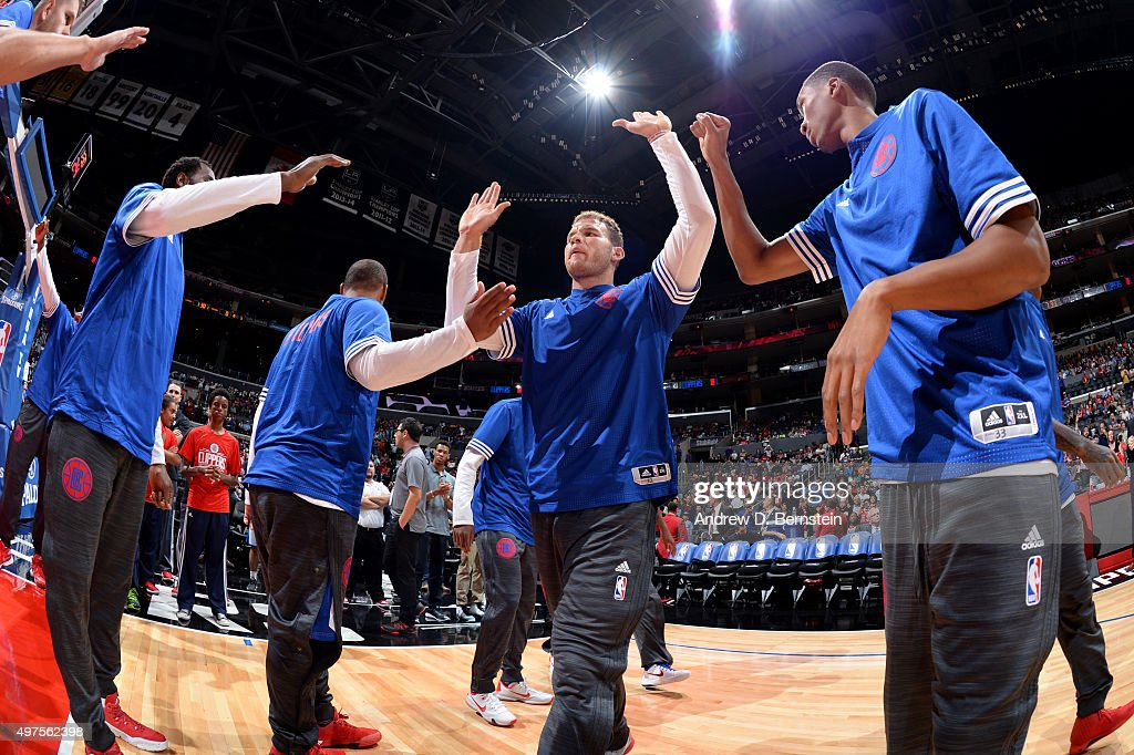 Blake Griffin #32 of the Los Angeles Clippers is introduced before the game against the Golden State Warriors at STAPLES Center on October 20, 2015 in Los Angeles, California.