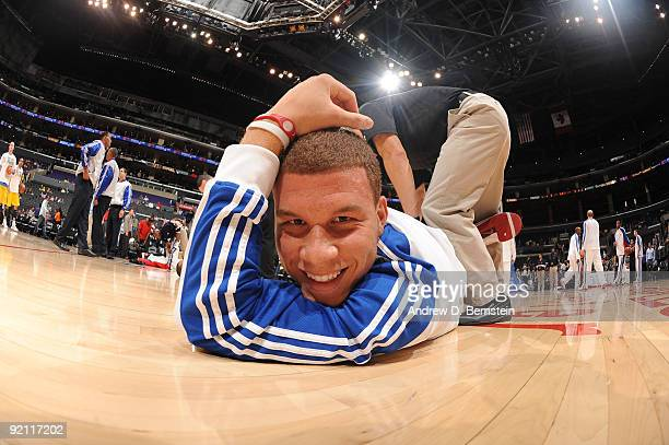 Blake Griffin of the Los Angeles Clippers is stretched before a game against Maccabi Electra Tel Aviv at Staples Center on October 20 2009 in Los...