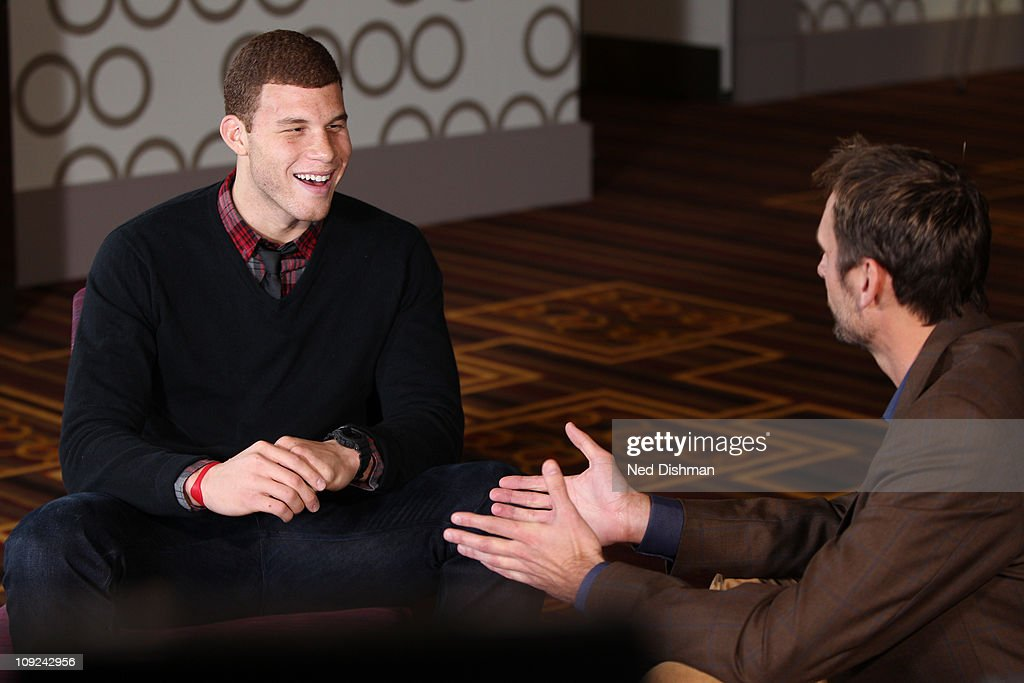 Blake Griffin #32 of the Los Angeles Clippers laughs with NBATV analyst Brent Barry during the 2011 NBA Circuit as part of the 2011 NBA All-Star Weekend on February 17, 2011 at the J.W. Marriott hotel in Los Angeles, California.