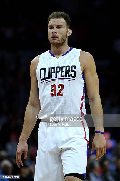 Blake Griffin of the Los Angeles Clippers looks on during an NBA game between Los Angeles Clippers vs Los Angeles Lakers April 5 2016 at Staples...