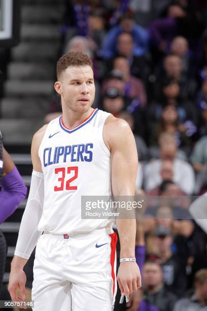 Blake Griffin of the Los Angeles Clippers looks on during the game against the Sacramento Kings on January 11 2018 at Golden 1 Center in Sacramento...