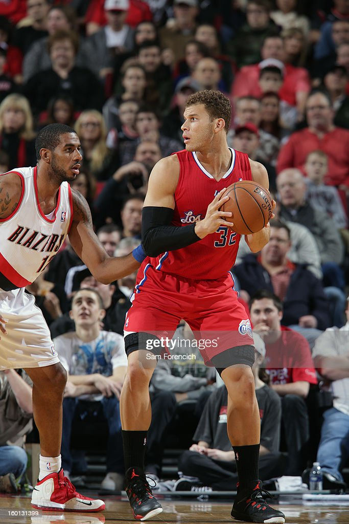 Blake Griffin #32 of the Los Angeles Clippers looks to pass the ball against the Portland Trailblazers in a game on January 26, 2013 at the Rose Garden Arena in Portland, Oregon.