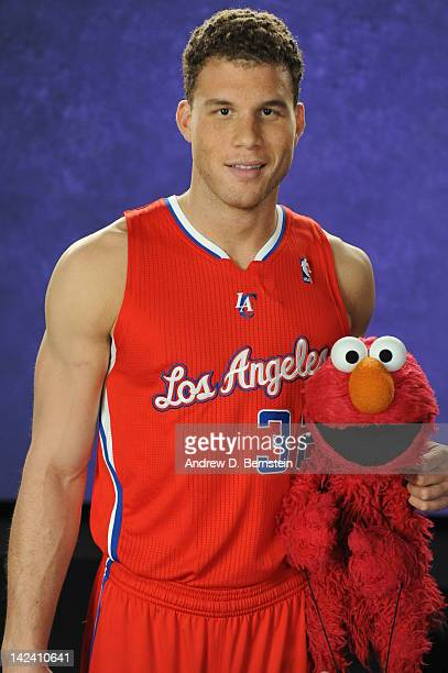 Blake Griffin of the Los Angeles Clippers makes a guest appearance on Sesame Street on April 3 2012 at Occidental Studios in Los Angeles California...