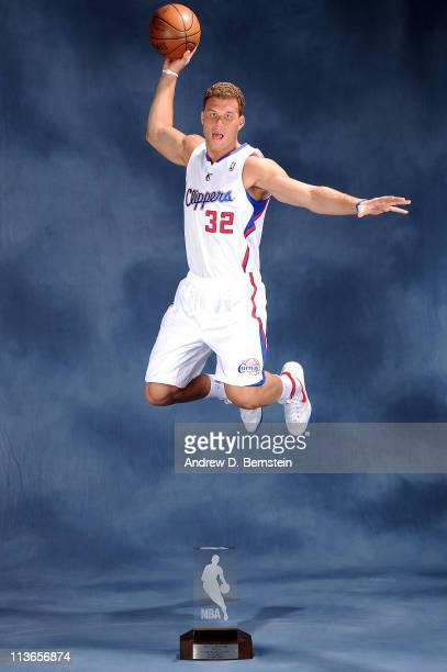 Blake Griffin of the Los Angeles Clippers poses for a picture with the 20102011 TMobile Rookie of the Year Award during a ceremony at the Clippers...