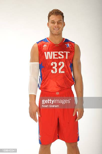 Blake Griffin of the Los Angeles Clippers poses for a portrait in his 2013 AllStar jersey on January 11 2013 at their training facility in Playa...