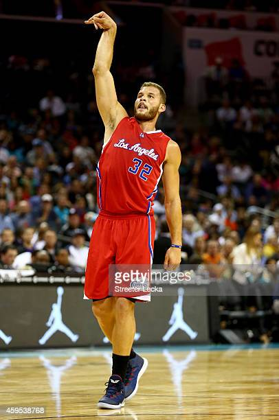 Blake Griffin of the Los Angeles Clippers reacts after a shot against the Charlotte Hornets during their game at Time Warner Cable Arena on November...