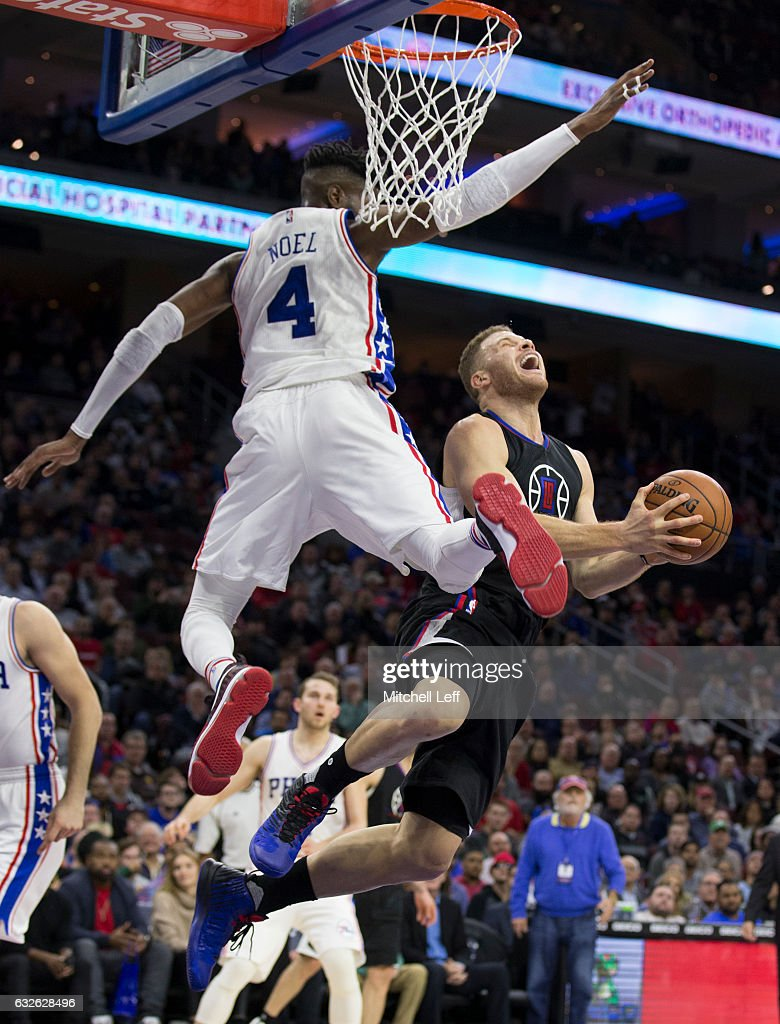 Blake Griffin #32 of the Los Angeles Clippers reacts after being fouled by Nerlens Noel #4 of the Philadelphia 76ers in the fourth quarter at the Wells Fargo Center on January 24, 2017 in Philadelphia, Pennsylvania. The 76ers defeated the Clippers 121-110.