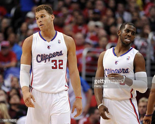 Blake Griffin of the Los Angeles Clippers reacts to his foul with Chris Paul against the Memphis Grizzlies during Game One of the Western Conference...
