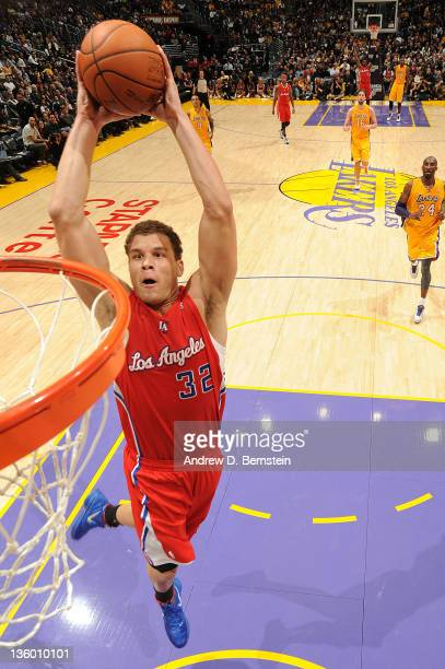 Blake Griffin of the Los Angeles Clippers rises for a dunk against the Los Angeles Lakers at Staples Center on December 19 2011 in Los Angeles...