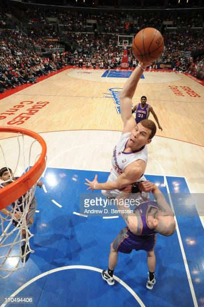 Blake Griffin of the Los Angeles Clippers rises for a dunk attempt against Marcin Gortat of the Phoenix Suns at Staples Center on March 20 2011 in...