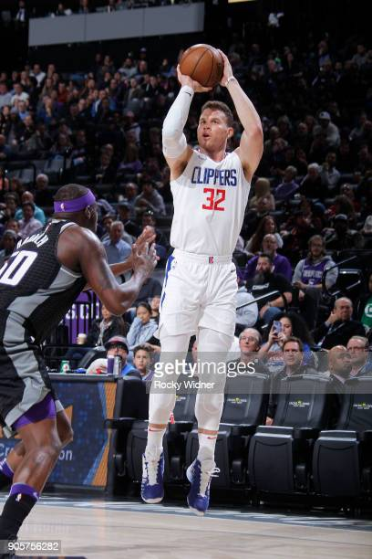 Blake Griffin of the Los Angeles Clippers shoots a three pointer against the Sacramento Kings on January 11 2018 at Golden 1 Center in Sacramento...