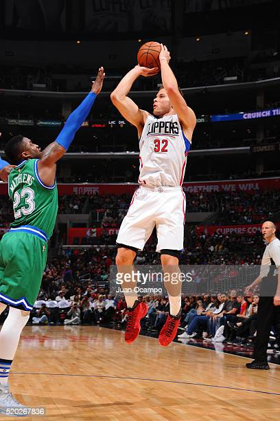 Blake Griffin of the Los Angeles Clippers shoots against the Dallas Mavericks during the game on April 10 2016 at STAPLES Center in Los Angeles...