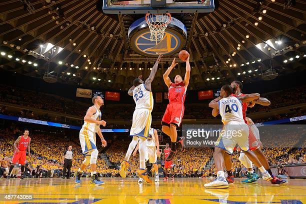 Blake Griffin of the Los Angeles Clippers shoots against the Golden State Warriors in Game Six of the Western Conference Quarterfinals during the...