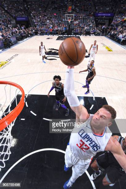 Blake Griffin of the Los Angeles Clippers shoots against the Sacramento Kings on January 11 2018 at Golden 1 Center in Sacramento California NOTE TO...
