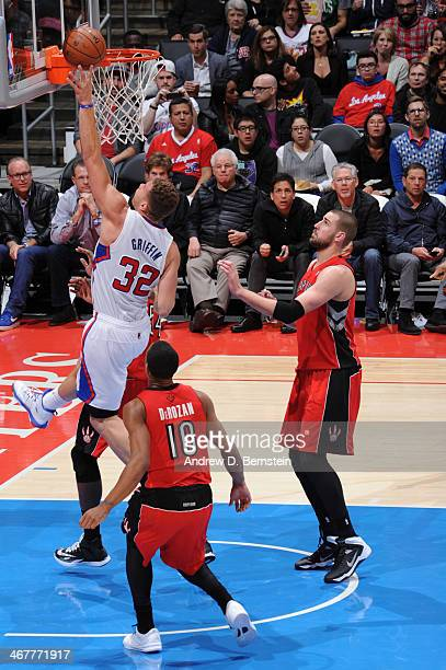 Blake Griffin of the Los Angeles Clippers shoots during a game against the Toronto Raptors at STAPLES Center on February 7 2014 in Los Angeles...