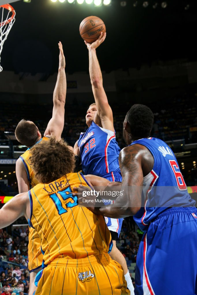 Blake Griffin #32 of the Los Angeles Clippers shoots in the lane against Ryan Anderson #33 of the New Orleans Hornets on April 12, 2013 at the New Orleans Arena in New Orleans, Louisiana.