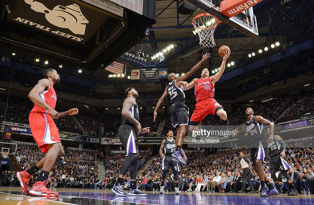 Blake Griffin #32 of the Los Angeles Clippers shoots the ball against the Sacramento Kings on November 1, 2013 at Sleep Train Arena in Sacramento, California.