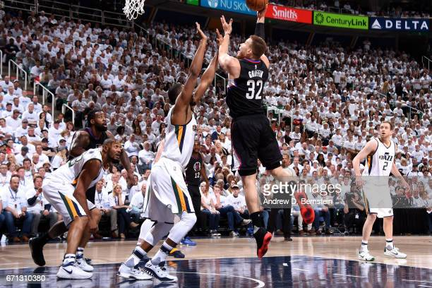 Blake Griffin of the Los Angeles Clippers shoots the ball during the game against the Utah Jazz during the Western Conference Quarterfinals of the...