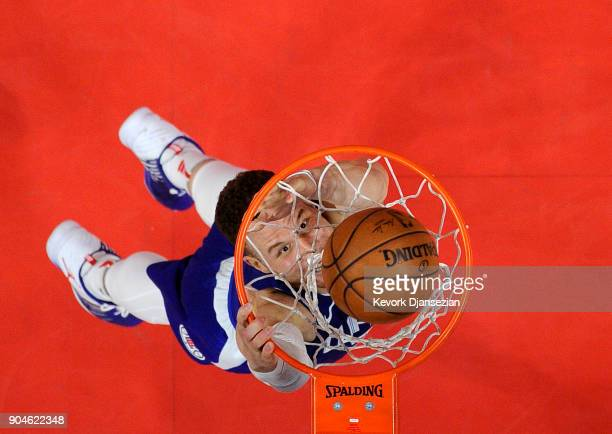 Blake Griffin of the Los Angeles Clippers slam dunks against Sacramento Kings during the second half at Staples Center on January 13 2018 in Los...