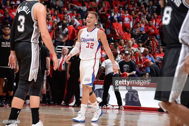 Blake Griffin of the Los Angeles Clippers smiles during the game against the San Antonio Spurs in Game One of the Western Conference Quarterfinals...