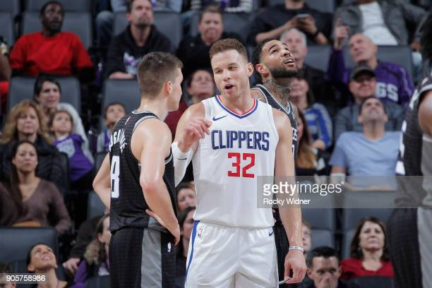 Blake Griffin of the Los Angeles Clippers talks to Bogdan Bogdanovic of the Sacramento Kings on January 11 2018 at Golden 1 Center in Sacramento...