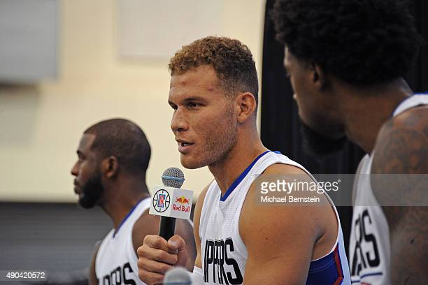 Blake Griffin of the Los Angeles Clippers talks to the media during media day at the Los Angeles Clippers Training Center on September 25 2015 in...
