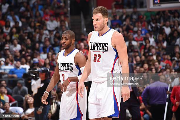 Blake Griffin of the Los Angeles Clippers talks with Chris Paul of the Los Angeles Clippers during the game against the Washington Wizards on April 3...