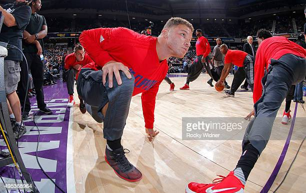 Blake Griffin of the Los Angeles Clippers warms up against the Sacramento Kings on October 28 2015 at Sleep Train Arena in Sacramento California NOTE...