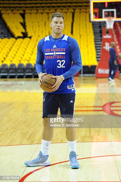 Blake Griffin of the Los Angeles Clippers warms up at the morning shoot around before a game against the Houston Rockets in Game Five of the Western...