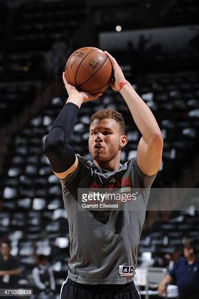 Blake Griffin of the Los Angeles Clippers warms up before the game against the San Antonio Spurs during Game Three of the Western Conference...