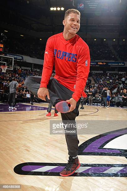 Blake Griffin of the Los Angeles Clippers warms up before the game against the Sacramento Kings on October 28 2015 at the Sleep Train Arena in...