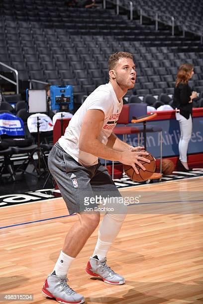 Blake Griffin of the Los Angeles Clippers warms up before the game against the Toronto Raptors at STAPLES Center on November 22 2015 in Los Angeles...