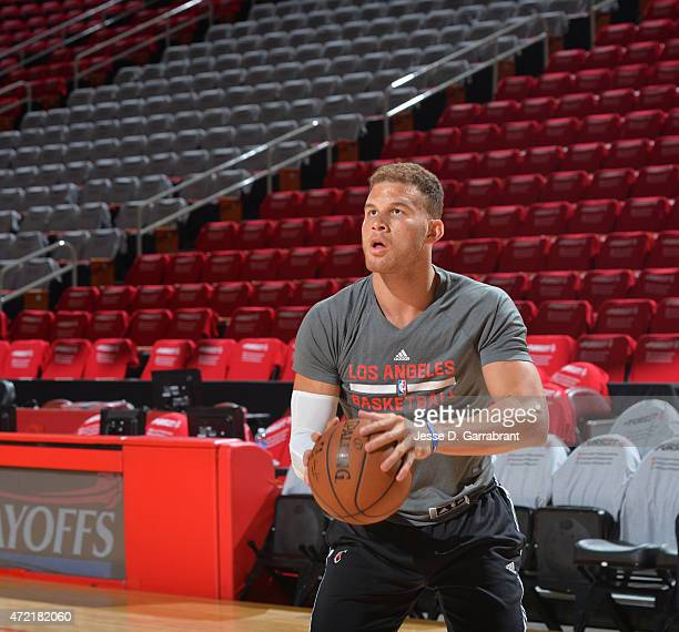 Blake Griffin of the Los Angeles Clippers warms up prior to the game against the Houston Rockets at the Toyota Center During the Second Round of the...
