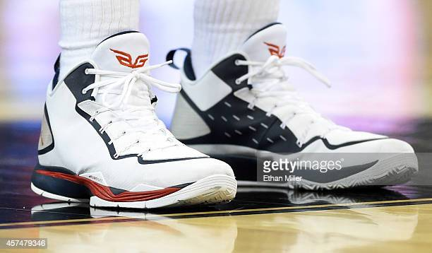 Blake Griffin of the Los Angeles Clippers wears Nike Air Jordan sneakers during a preseason game against the Denver Nuggets at the Mandalay Bay...