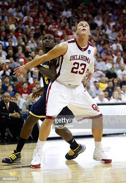 Blake Griffin of the Oklahoma Sooners gets in position for the rebound during their second round game against the Michigan Wolverines the NCAA...